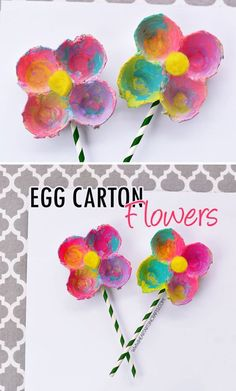 Colorful Egg Carton Flowers for preschool spring craft