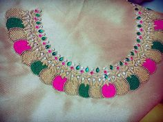 Neck work designs for women blouse designs,hand embroidery designs for neck designs,elegant neck work designs blouse latest designs beautiful work designs an. Beaded Embroidery, Hand Embroidery, Embroidery Designs, Embroidery Blouses, Blouse Patterns, Saree Blouse Designs, Blouse Models, Collor, Cutwork