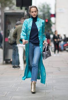 Kimono inspired coat in fall, over turtleneck and jeans. London Fashion Week Street Style Spring 2017: See All the Best Looks | StyleCaster