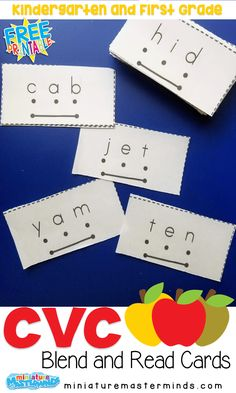 CVC Blend and Read Cards For Kindergarten and First Graders