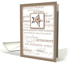 Girl Scout BRONZE Award  Promise and Laws Greeting Card