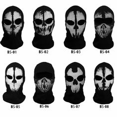 Skeleton Ghost Skull Full Face Mask Biker Ski Balaclava Call of Duty COD Cosplay Ghost Face Mask, Skull Face Mask, Paintball, Steampunk Gas Mask, Airsoft Helmet, Ghost Faces, Full Face Helmets, Masks For Sale, Leather Art