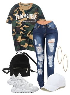 """""""Thrasher outfit"""" by ar-romero-02 on Polyvore featuring Urban Outfitters, WithChic, NIKE, Lydell NYC and Sole Society"""