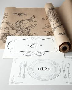 "kitchen papers by cake vintage...love! Tablerunners, place cards, ""placemats"", menus..."