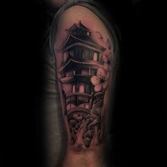 Discover unique architecture ink with the top 50 best Japanese temple tattoo designs for men. Explore cool Buddhist ink ideas and religious buildings. Japanese Temple Tattoo, Bridge Tattoo, Criminal Tattoo, Traditional Japanese Tattoos, Irezumi Tattoos, Tattoo Shows, Tattoo Designs Men, Arm Tattoo, Tattoo Ideas