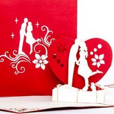 3D-Pop-Up-Karte Valentinstag Geschenkkarte mit Umschlag Hochzeit Verlobung-Karte Brautpaar Valentinstag-Karte Liebe Valentinskarte Geburtstagskarte Hochzeitskarte Paar unter Blumenkranz