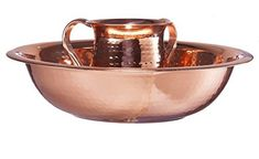 AM Judaica 56867S Stainless Steel Washing Cup Set with Hammered Copper Plated -- For more information, visit image link.