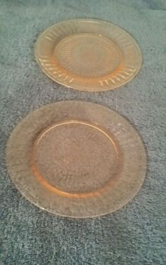 VINTAGE PINK DEPRESSION GLASS MAYFAIR PLATES (2) BY ANCHOR HOCKING GLASS COMPANY