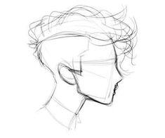 Art Drawings Sketches, Cool Drawings, Sketches Of Boys, Drawings Of Men, Easy Hair Drawings, Pencil Drawings, Eye Drawings, Curly Hair Drawing, Drawing Hair Tutorial