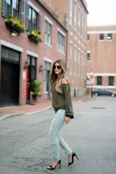 justthedesign: Ripped jeans and a khaki off the shoulder...