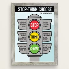 Stop Think Choose For Impulsive Kids Poster - Therapy & Counseling Counseling Posters, Counseling Activities, Anger Management Activities For Kids, Elementary Counseling, School Counseling, Therapy Worksheets, Therapy Activities, Social Emotional Activities, Therapy Tools