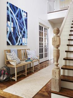 Andrew Howard interior Design - Beautiful beach house entryway with white  tongue