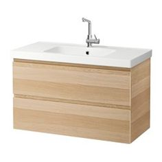 "GODMORGON / ODENSVIK Sink cabinet with 2 drawers - white stained oak effect, 39 3/8x19 1/4x25 1/4 "" - IKEA"