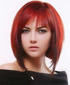 Auburn Red Bob with Bangs and Lowlights-Angled Bob Haircuts