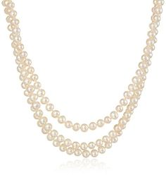"""Sterling Silver 3-Row White Freshwater Cultured A Quality Pearl Necklace (6.5-7mm ), 17"""", 18"""" and 19"""" Amazon Curated Collection http://www.amazon.com/dp/B002MAPRTU/ref=cm_sw_r_pi_dp_9Ms.ub084TR9G"""