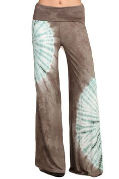 Womens Taupe Mint Hand Dyed Tie Dye Fold Over Waist Wide Leg Pants