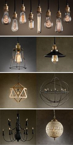 Restoration Hardware Lighting top pic - make chandeliers like this. have bulbs, get multi pendant bulb kit from online world market Industrial Lighting, Home Lighting, Lighting Design, Pendant Lighting, Ceiling Lighting, Corner Lighting, Rustic Lighting, Lantern Pendant, Vintage Lighting