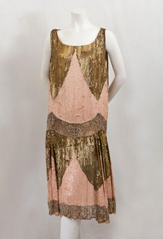 Beaded and sequined silk chiffon flapper evening dress, c.1925