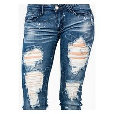 paint splattered distressed jeans ($35) ❤ liked on Polyvore