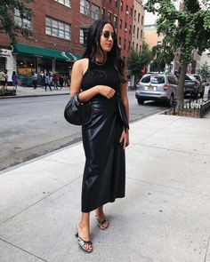 Trust Me—This Elevated Skirt Trend Will Always Be in Style Copenhagen Fashion Week, Song Of Style, Faux Leather Skirt, Leather Skirts, Printed Denim, Celebrity Outfits, Who What Wear, Clothing Items, Fashion Photo