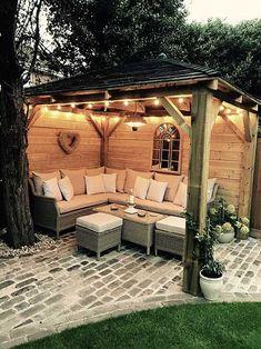 Cozy Backyard Design with a Gazebo Backyard Patio Designs, Pergola Designs, Backyard Landscaping, Pergola Ideas, Pergola Kits, Backyard Pools, Landscaping Ideas, Wooded Backyard Landscape, Small Deck Designs