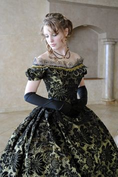 RESERVED Victorian Bridal Civil War Steampunk Ball Gown Dress in Black & Olive Green flocked taffeta. $440.00, via Etsy.