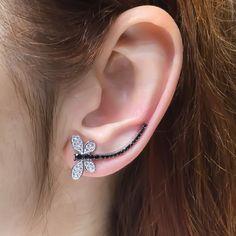 Silver dragonfly ear crawler earrings, black white zirconia ear cuff ear sweep ear climber ear cuffs and ear wraps delicate minimal earcuffs by TrendSilver on Etsy