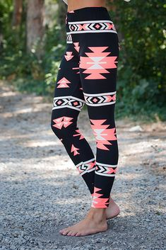 Neon Coral and White Aztec Leggings - Modern Vintage Boutique