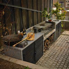 Simple Outdoor Kitchen, Outdoor Kitchen Design, Patio Design, Grill Gazebo, Patio Grill, Pergola, Outdoor Rooms, Outdoor Living, Outdoor Decor
