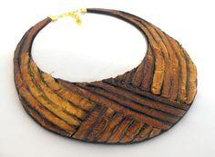 Leather bib necklace. Inca gold ❤ by julishland on Etsy