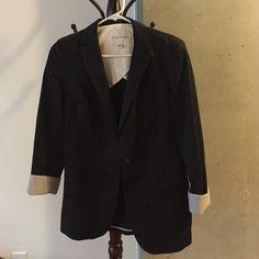 Banana Republic Blazer Boyfriend blazer from BR. Cotton, wash instructions are dry clean only. Black with light grey check cuff detail. Banana Republic Jackets & Coats Blazers