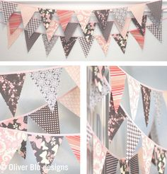 Mini pennant fabric banner bunting in pale by oliverbludesigns