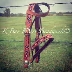 Beaded headstall and matching beaded tiedown by k bar heart beadwork   Www.facebook.com/kbarheartbeads   Beaded tack. Beadwork. Loom. Beaded bridle. Cowboy beadwork. Western. Rodeo gear. Flash me your beads.