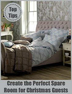 Christmas Home: Create the Perfect Spare Room - Love Chic Living Bed Frame And Headboard, Home Decor Bedroom, Master Bedroom, Bedroom Furniture, Furniture Ideas, Bedroom Ideas, Upholstered Beds, Spare Room, Christmas Home