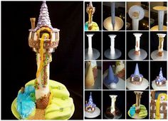 """""""Tangled"""" Rapunzel Tower Cake Tutorial…This tutorial covers setting up the support structure and decoration of a """"Tangled"""" Rapunzel Tower Cake as can be seen on http://www.facebook.com/CustomCakeDesigns // Find full details on →http://cakesdecor.com/customcakedesignsoz/blog/351"""