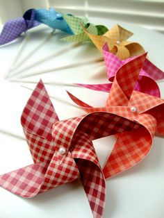 Pinwheels GINGHAM RAINBOW set of 7 mini pinwheels by PaperPolaroid, $10.00
