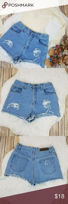 c9bd977e1caff Vintage Distressed Denim Cheeky Cutoff Shorts Sz 4 Vintage early 90s Bill  Blass brand denim distressed