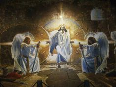 """""""The Resurrection"""" by Ron DiCianni. """"The Resurrection"""" is a depiction of the moment Jesus emerges from the tomb. Ron said that he had never seen that particular scene painted before. He wanted to capture a single moment in time. Jesus steps up and out of the grave, his hands vaulting himself from the borrowed tomb into the glorious resurrection dawn of Easter morning."""