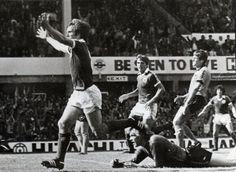 Peter eastoe celebrating scoring against Wolves, sept 1980
