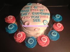 gender reveal cakes | Gender Reveal Cake And Matching Cupcakes | thescottsdalebakery.com ...