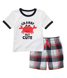 Carters Boys Sail Polo Short Set - Carter's offers cute & comfortable clothing with soft durable fabrics!This set features a T-shirt with Crabby But Cute applique & coordinating pull on plaid shorts with a mock drawstring. Carters Clothing, Baby Boy Clothing Sets, Infant Clothing, Hipster Baby Clothes, Cute Boy Outfits, Little Boy Fashion, Plaid Shorts, Carters Baby, Comfortable Outfits