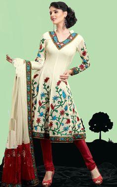 Off White & Maroon Georgette Anarkali Churidar Salwar Kameez - StylishKart