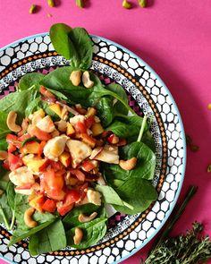Babyblattspinat mit Nektarinen, Tomate, Mozzarella & Cashewnüsse   Kochzauber   was eigenes blog