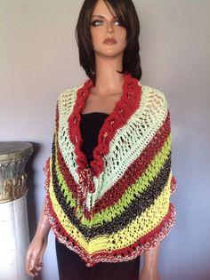 Hand Knit Shawl Wrap Caplet Designer Summer Fashion Hip Stylish Multicolor Lace  | eBay