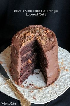 Double Chocolate Butterfinger Layered Cake