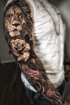 Tattoo Models and Designs Künstler IG: @ . von - Entwurf , Tattoo Models and Designs Künstler IG: @ . Tattoos Masculinas, Lion Head Tattoos, Tattoos Arm Mann, Arm Tattoos For Guys, Small Tattoos, Tattoos For Women, Lion Tattoo Sleeves, Best Sleeve Tattoos, Tattoo Sleeve Designs