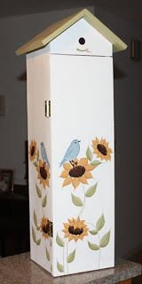 Adorable Country Classics: Birdhouse Toilet Paper Holder in Sunflowers & Blue Birds.