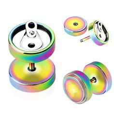 Pair Of Rainbow Titanium Anodized Fake Plugs With Soda Can Top, 16 Ga.  #accessories #bodyjewelry #piercing #jewelry #piercings #bodymod ♥ $7.49 via OnlinePiercingShop.com