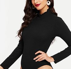 On Second Thought: Long Sleeve Ribbed Bodysuit with Frill Mock Neck Ribbed Bodysuit, Black Bodysuit, Denim Fashion, High Fashion, Fall Fashions, Long Sleeve Bodysuit, Fall 2018, Bodysuits, Mock Neck