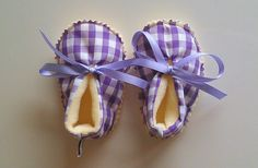 Purple Gingham baby girl fleece booties - spring color - Aquarius baby girl - baby shower gift - ready to ship - purple - yellow Checkerboard Pattern, Girls Fleece, Buffalo Check, Purple Yellow, Having A Baby, Spring Colors, Baby Booties, Aquarius, Gingham
